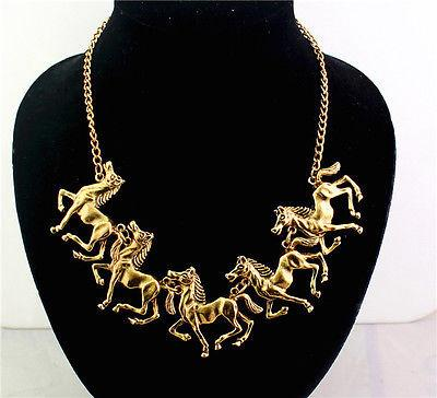 Bronze Colored Metal Horse Necklace