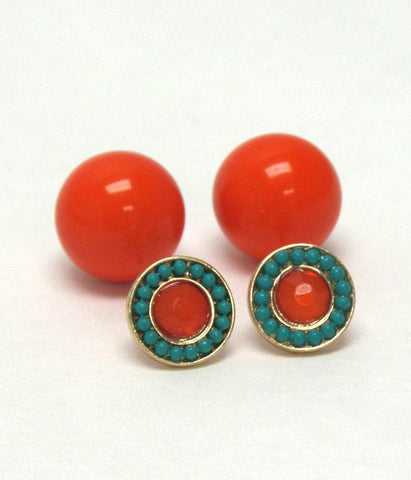 Blue and Orange Double Sided Earrings