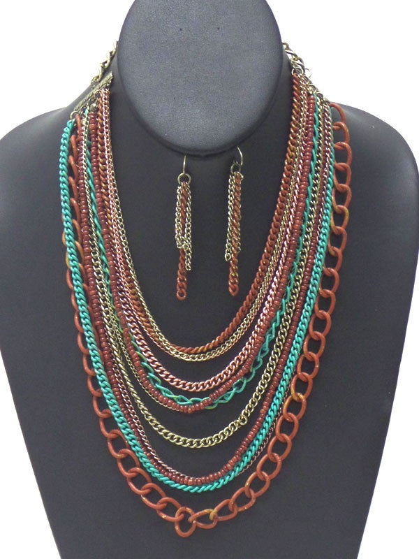 Vintage Rustic Style Multi Chain Necklace Set