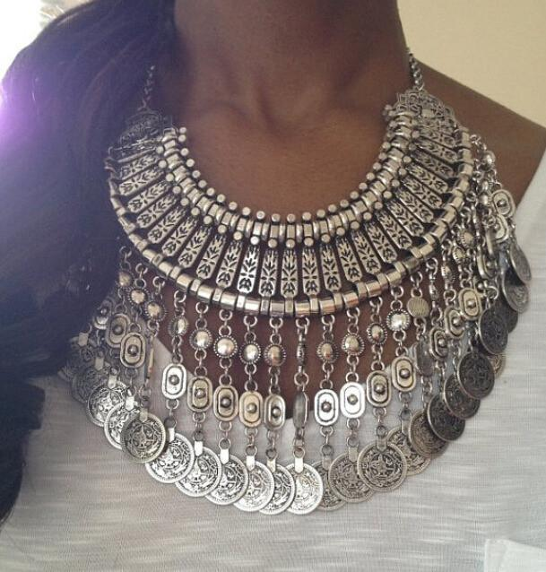 Boho Style Silver Tone Statement Necklace