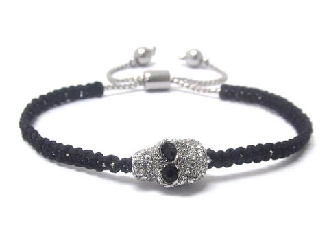 Black Small Crystal Button Bracelet