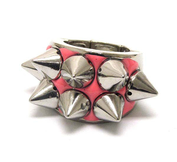 Pink Spike Stretch Ring