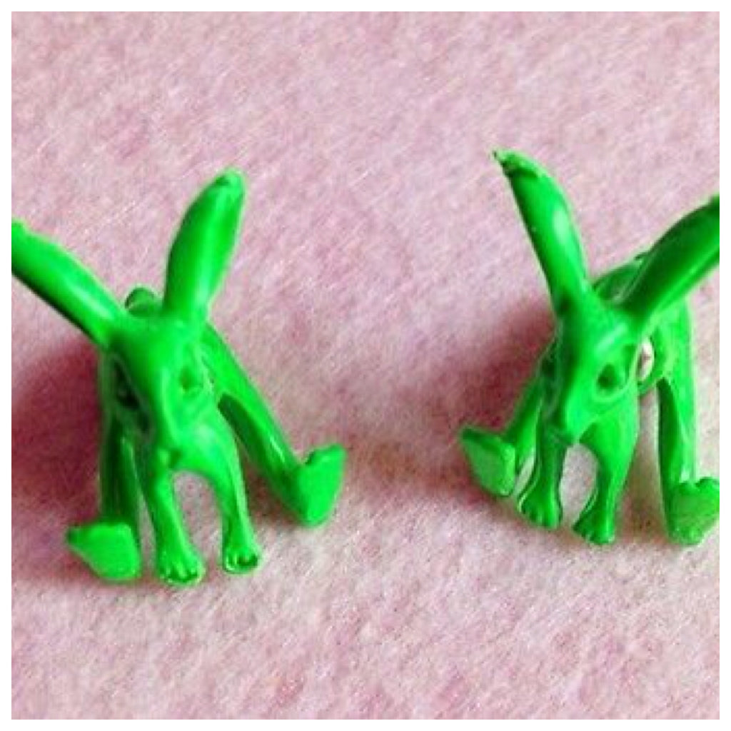 Green Rabbit Double Sided Earrings