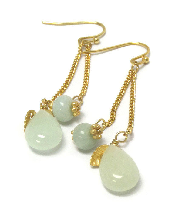 Semi Precious Stone Drop Earrings