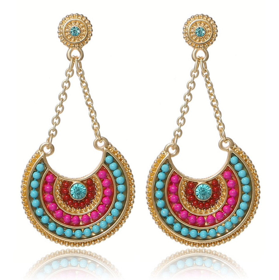 Multicolored Gold Tone Beaded Earrings
