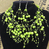 Bright Green Multi Layer Pearl Necklace