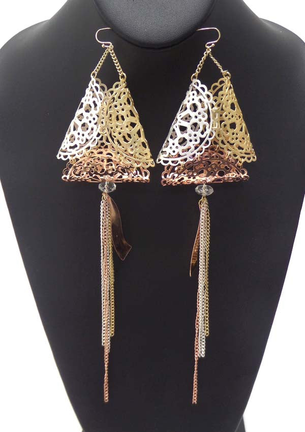 Puffy Triangle Vintage Mixed Metal Dangle Earrings