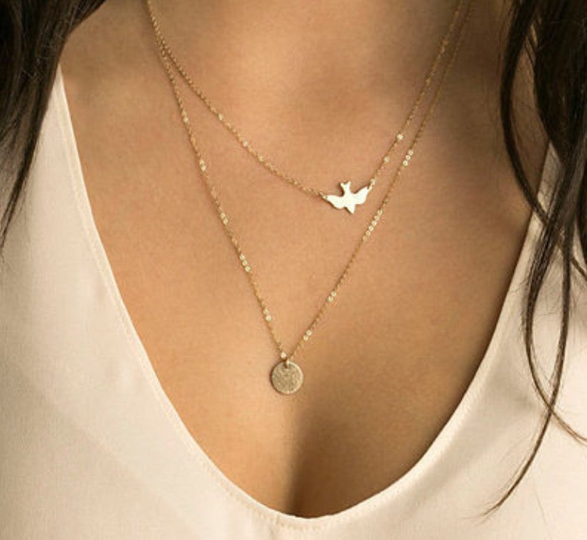 Multilayered Peace Dove Coin Necklace