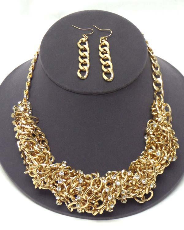 Gold Tone Stone Necklace Set