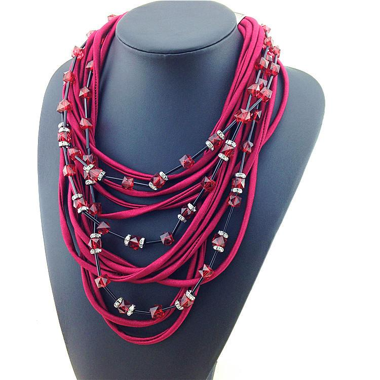Burgundy Chorded Beaded Necklace