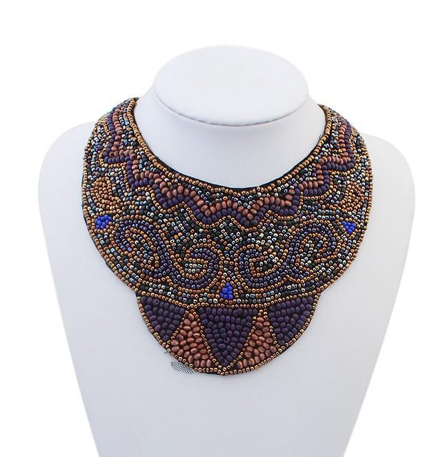 Copper and Blue Beaded Statement Necklace