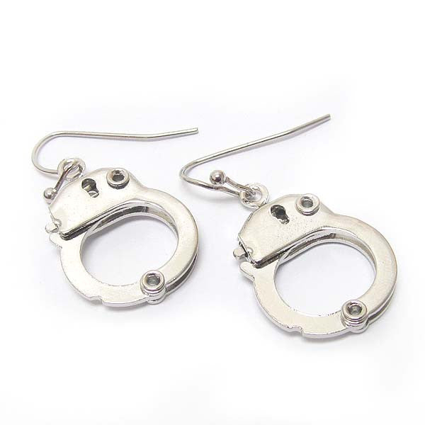 Silver Tone Handcuff Earrings