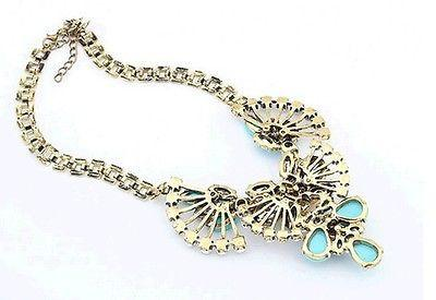 Blue and Yellow Flower Crystal Necklace