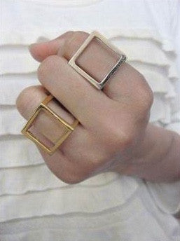 Silver Colored Cube Ring