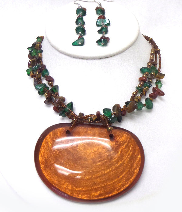 Large Oval Beaded Necklace