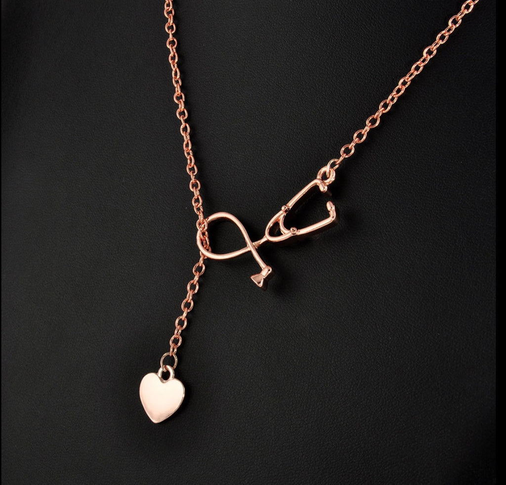 Stethoscope Rose Gold Tone Necklace