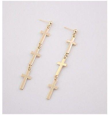 Gold Tone Cross Dangle Earrings