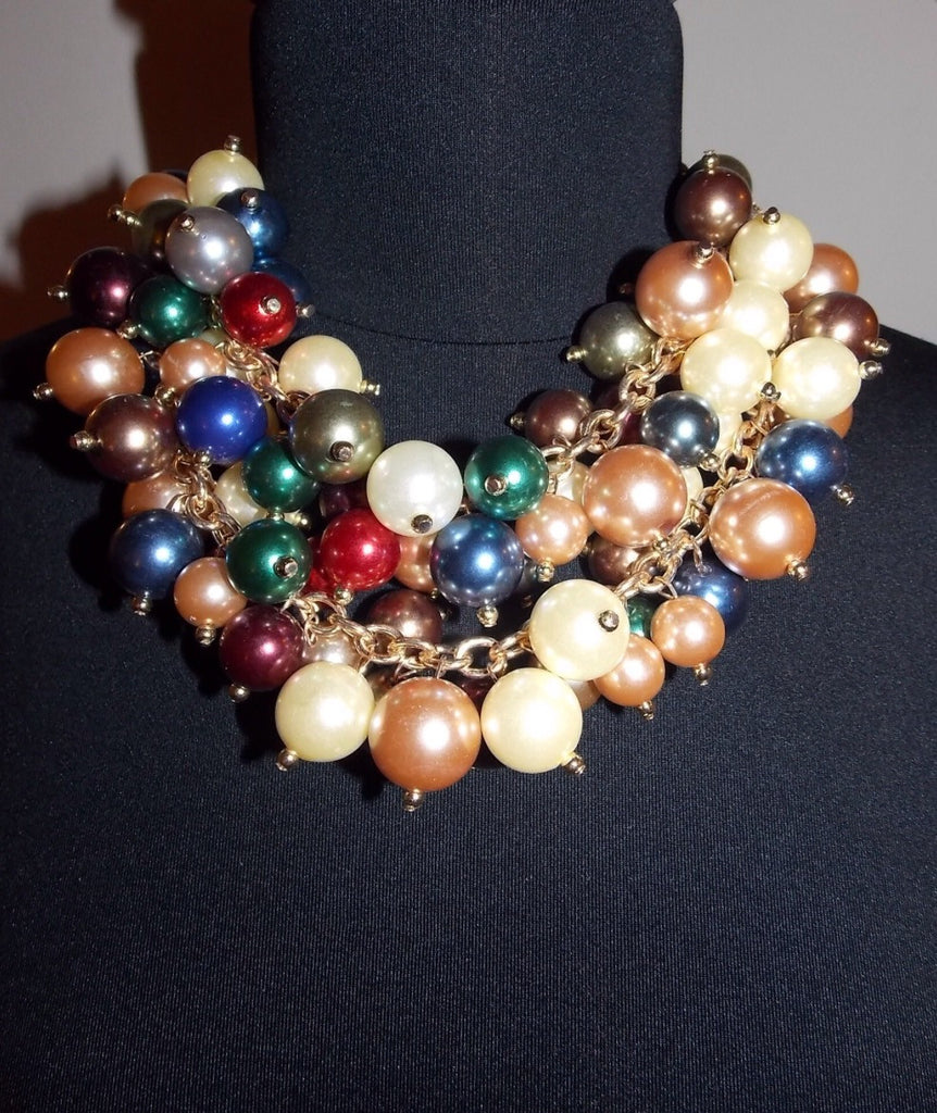 Multicolor Pearl Statement Necklace