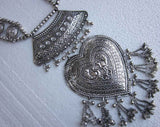 Beautiful Ethnic Silver Tone Heart Necklace Set