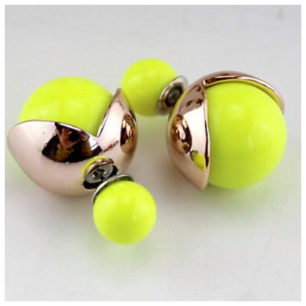 Neon and Gold Tone Double Ball Earrings