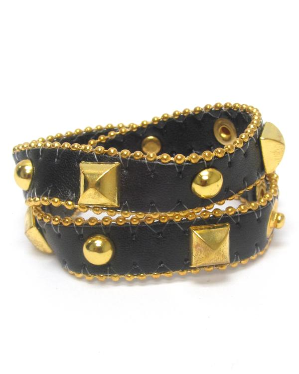 Leatherette Metal Stud Button Bracelet