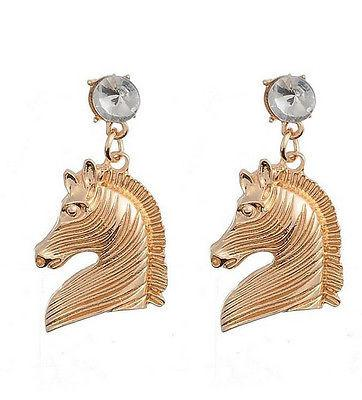 Gold Tone Horse Dangle Earrings