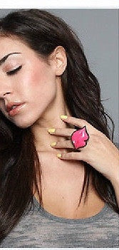 Pink Big Lips Adjustable Ring