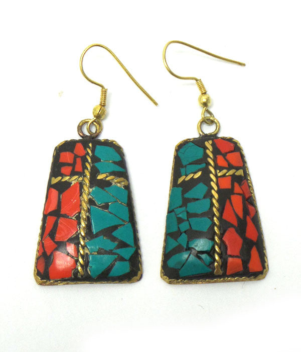 Rectangle Metal Stone Earrings
