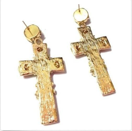 18k Gold Plated Cross Statement Earrings