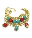 Two Layer Chain Turquoise and Red Bracelet