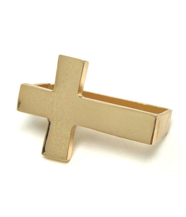 Thick Gold Cross Three Finger Ring