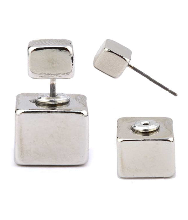 Metal Cube Double Side Earrings