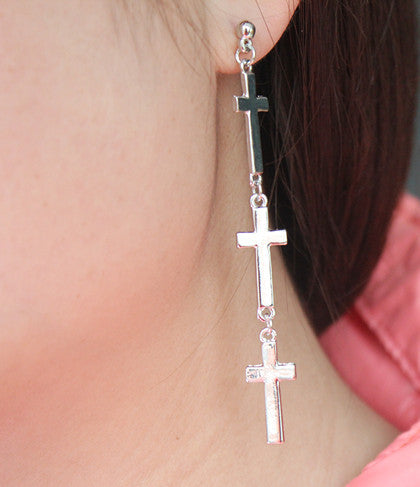 Silver Tone Cross Earrings