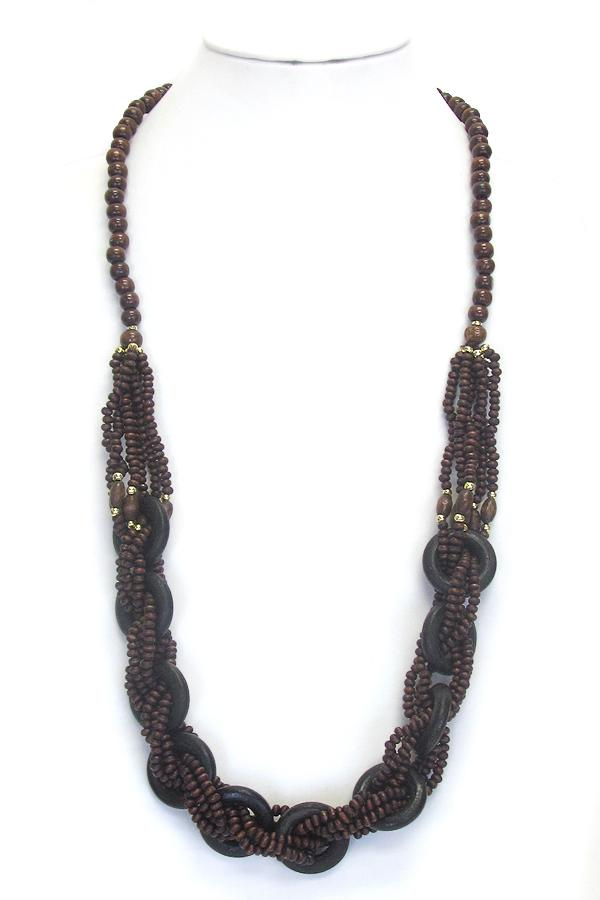 Long Wood Twist Necklace