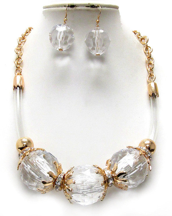 Large Acrylic Ball Corded Statement Necklace
