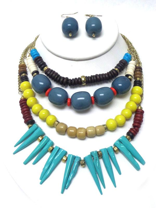 Four Layer Multi Bead Tribal Statement Necklace