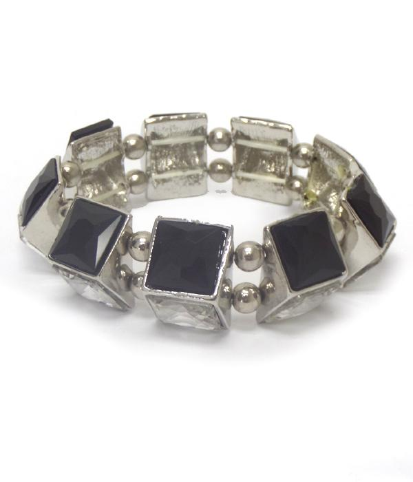 Square Glass Bling Stretch Bracelet