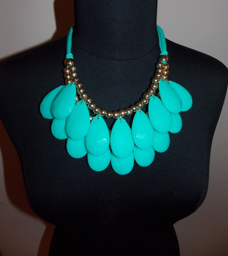 Aqua Fabric Tie Back Necklace