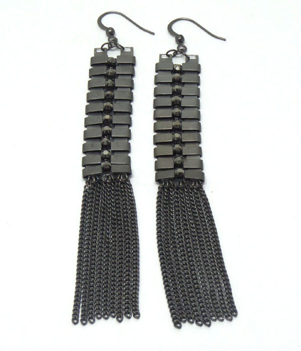 Metal Tassell Drop Hook Earrings
