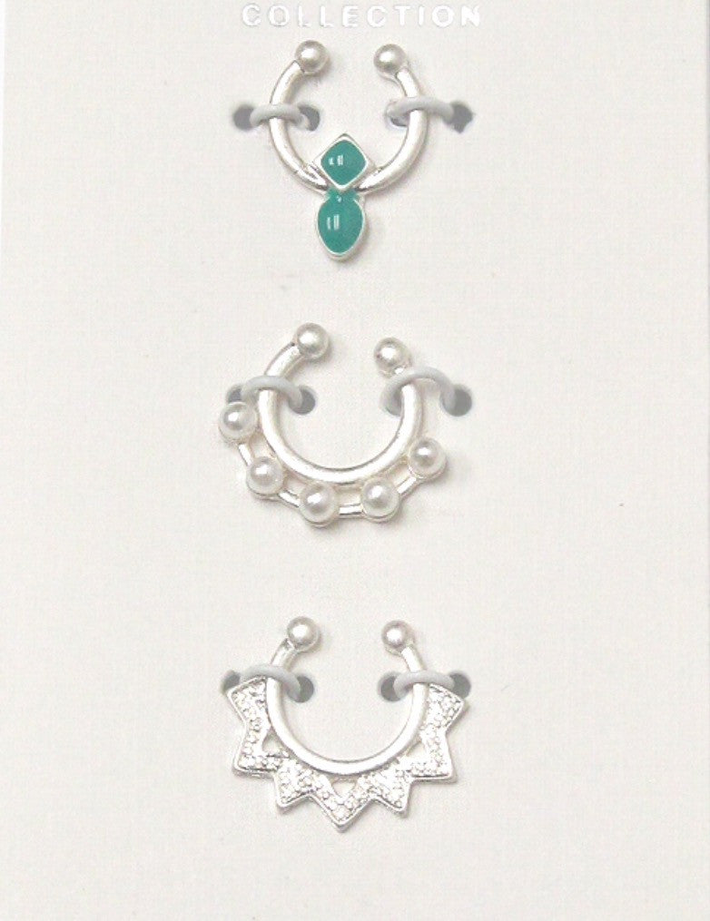 Set of Three Faux Septum Rings