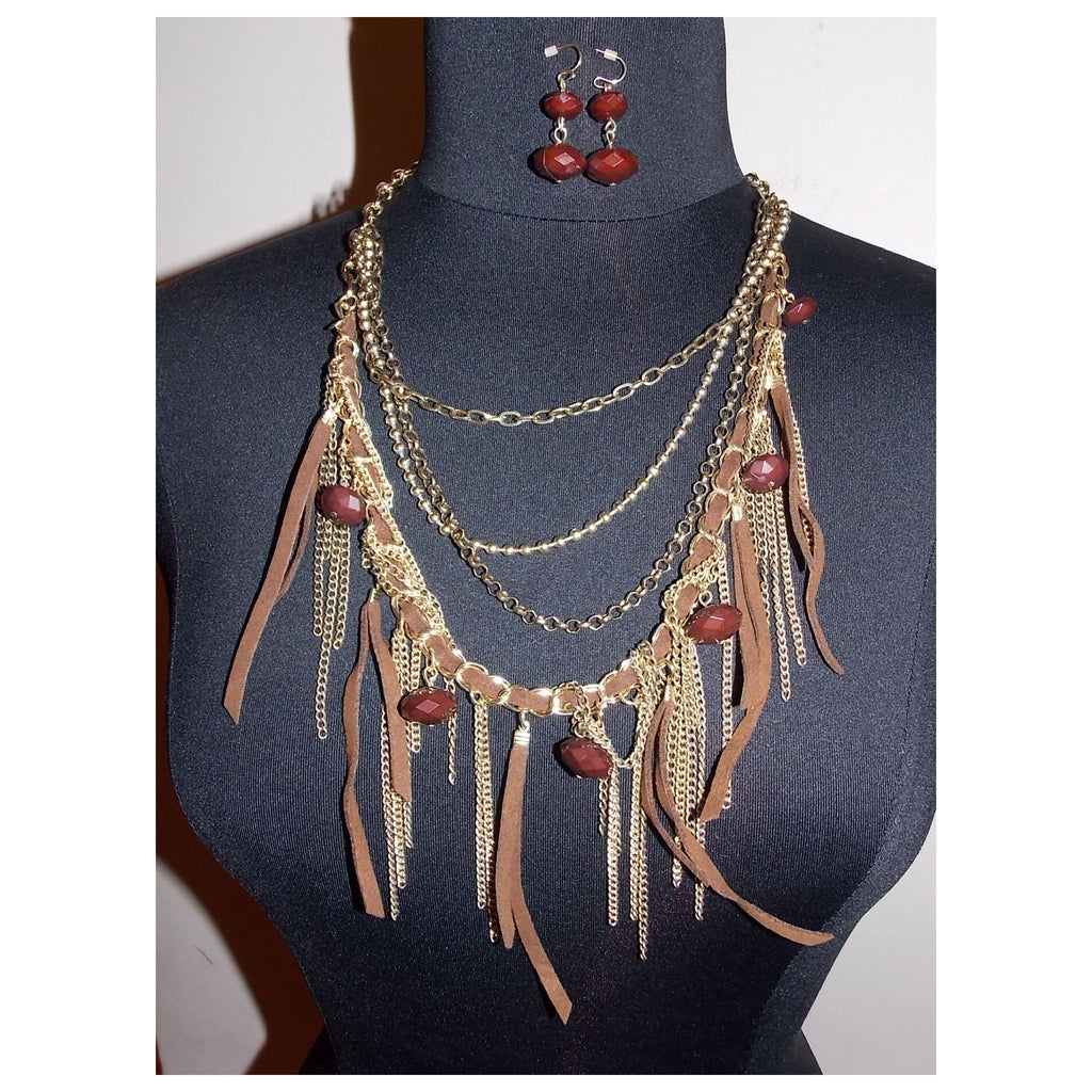 Brown Suede Necklace Set