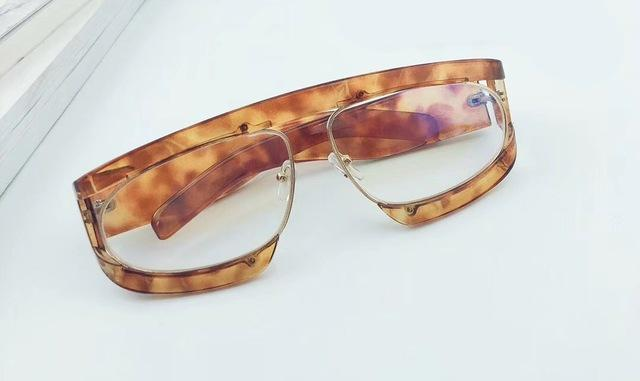 Brown Clear Oversized Sunglasses
