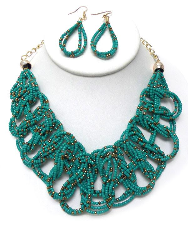Aqua Beaded Braided Necklace