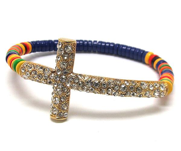 Cross Multicolor Band Bracelet