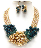 Green and Gold Beaded Necklace Set