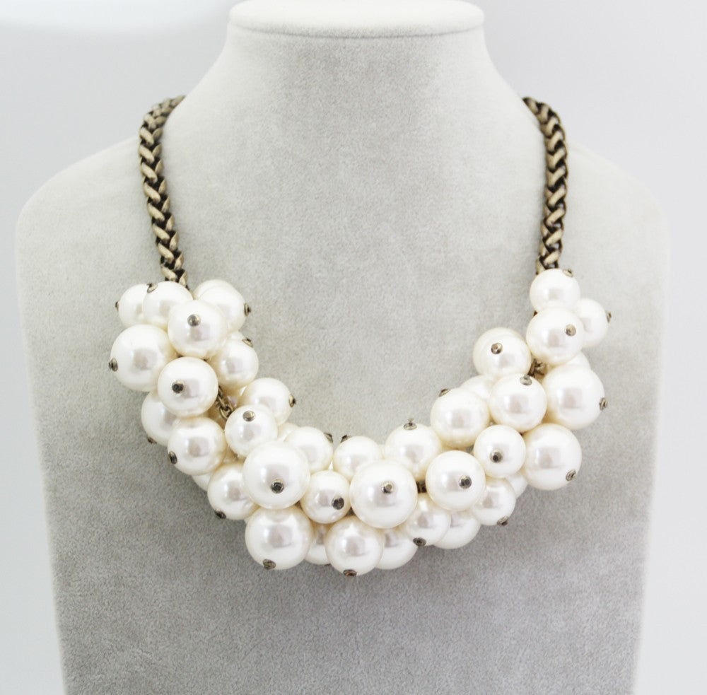 Pearl Dark Chain Statement Necklace