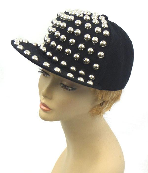 Black Silver Studded Hat