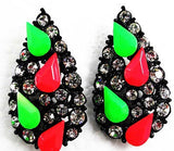 Hot Green and Red Earrings