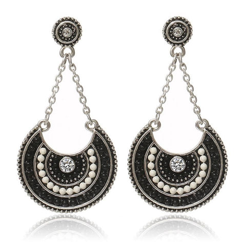 Black and White Large Earrings