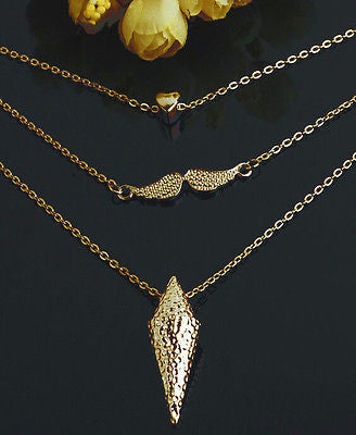 Multilayer Heart Wings Necklace